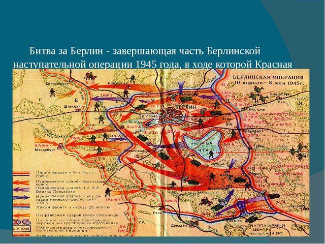 Битва за Берлин - завершающая часть Берлинской наступательной операции 1945...