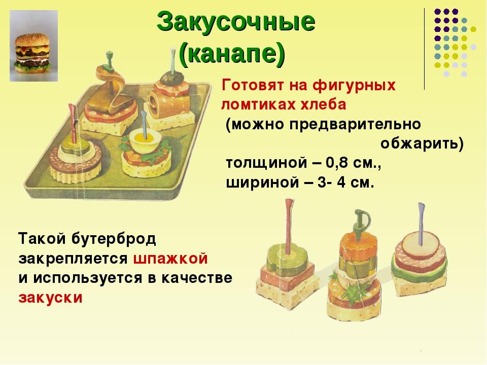 Закусочные (канапе) Готовят на фигурных ломтиках хлеба (можно предварительно...