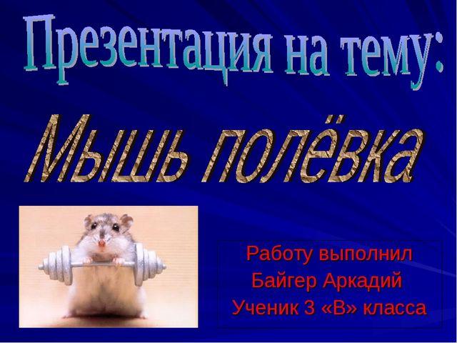Работу выполнил Байгер Аркадий Ученик 3 «В» класса