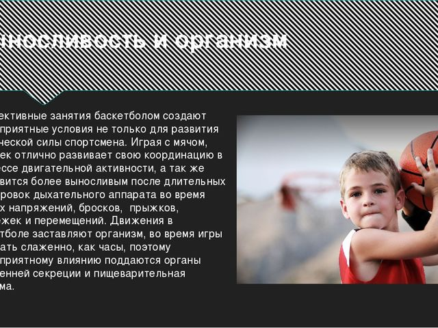 Выносливость и организм Эффективные занятия баскетболом создают благоприятные...