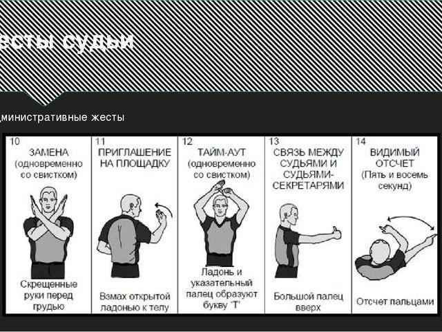 Жесты судьи Административные жесты
