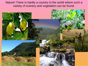 Nature! There is hardly a country in the world where such a variety of scener