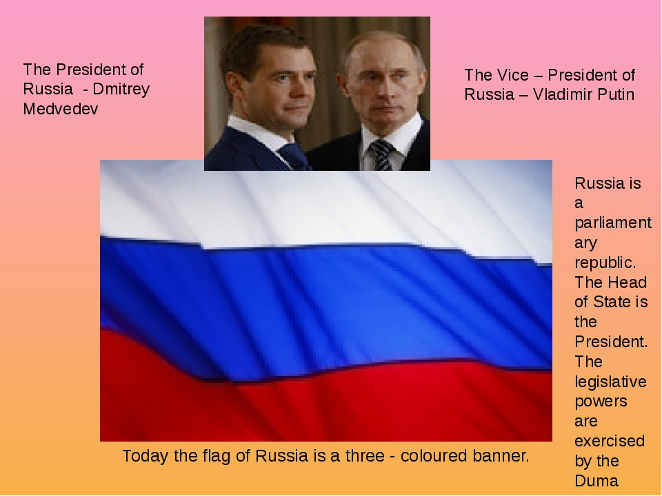 Today the flag of Russia is a three - coloured banner. The President of Russ...