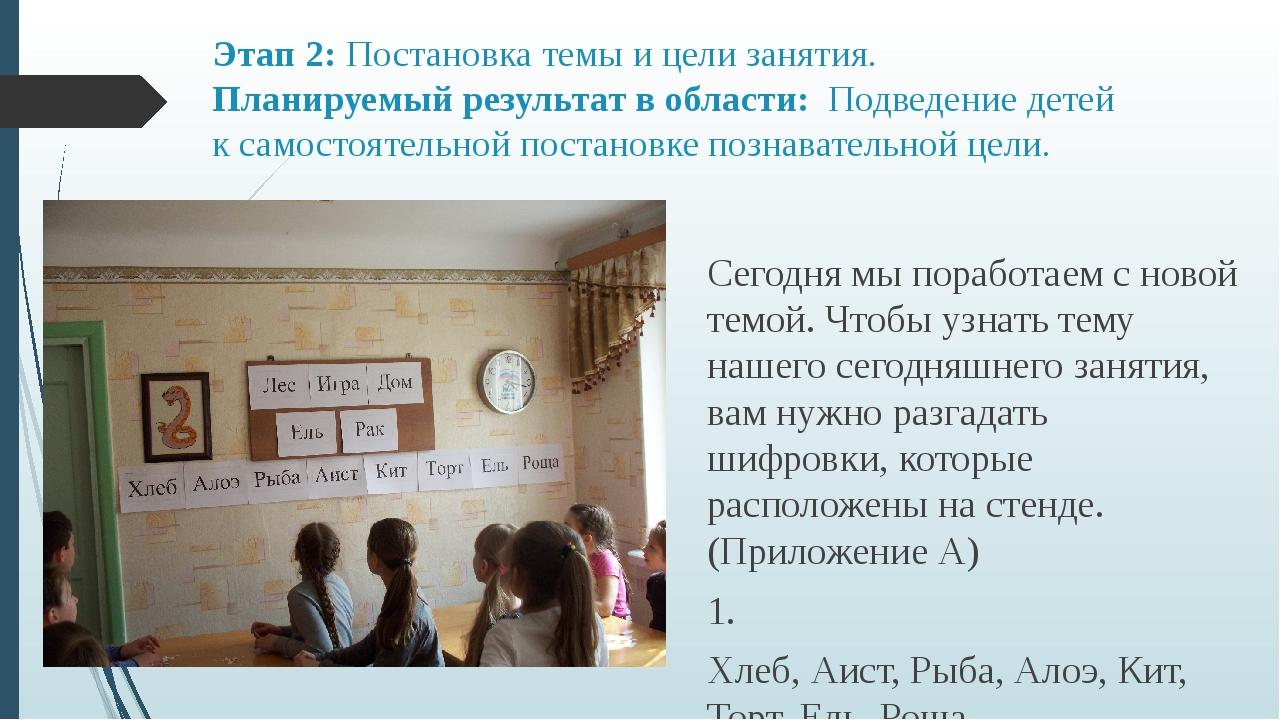 Этап 2: Постановка темы и цели занятия. Планируемый результат в области: Подв...