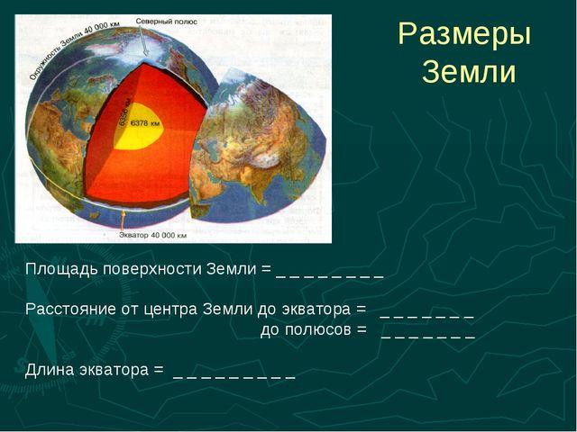 Размеры Земли Площадь поверхности Земли = _ _ _ _ _ _ _ _ Расстояние от центр...