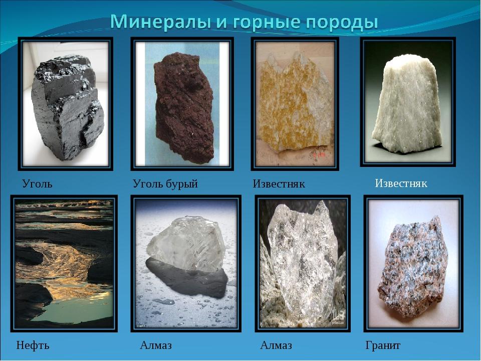 Уголь Уголь бурый Известняк Известняк Нефть Алмаз Алмаз Гранит