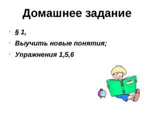 Домашнее задание § 1, Выучить новые понятия; Упражнения 1,5,6