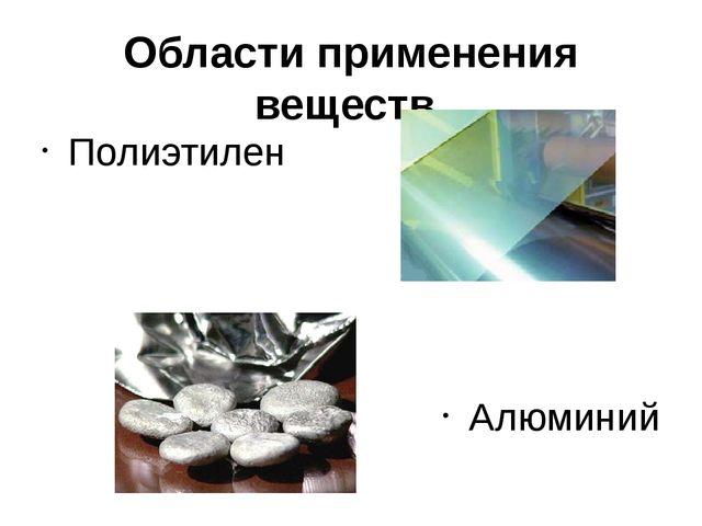 Области применения веществ. Полиэтилен Алюминий