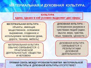 МАТЕРИАЛЬНАЯ И ДУХОВНАЯ КУЛЬТУРА. МАТЕРИАЛЬНАЯ КУЛЬТУРА - объекты, имеющие ве