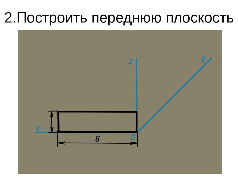 2.Построить переднюю плоскость детали