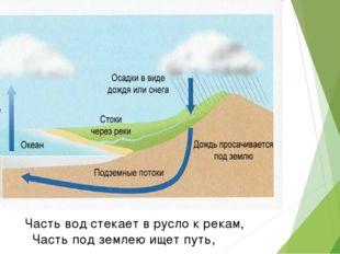 Часть вод стекает в русло к рекам, Часть под землею ищет путь,