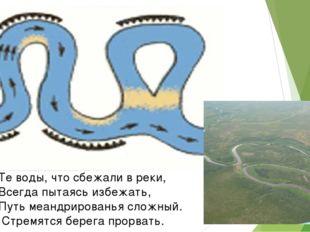 Те воды, что сбежали в реки, Всегда пытаясь избежать, Путь меандрированья сло