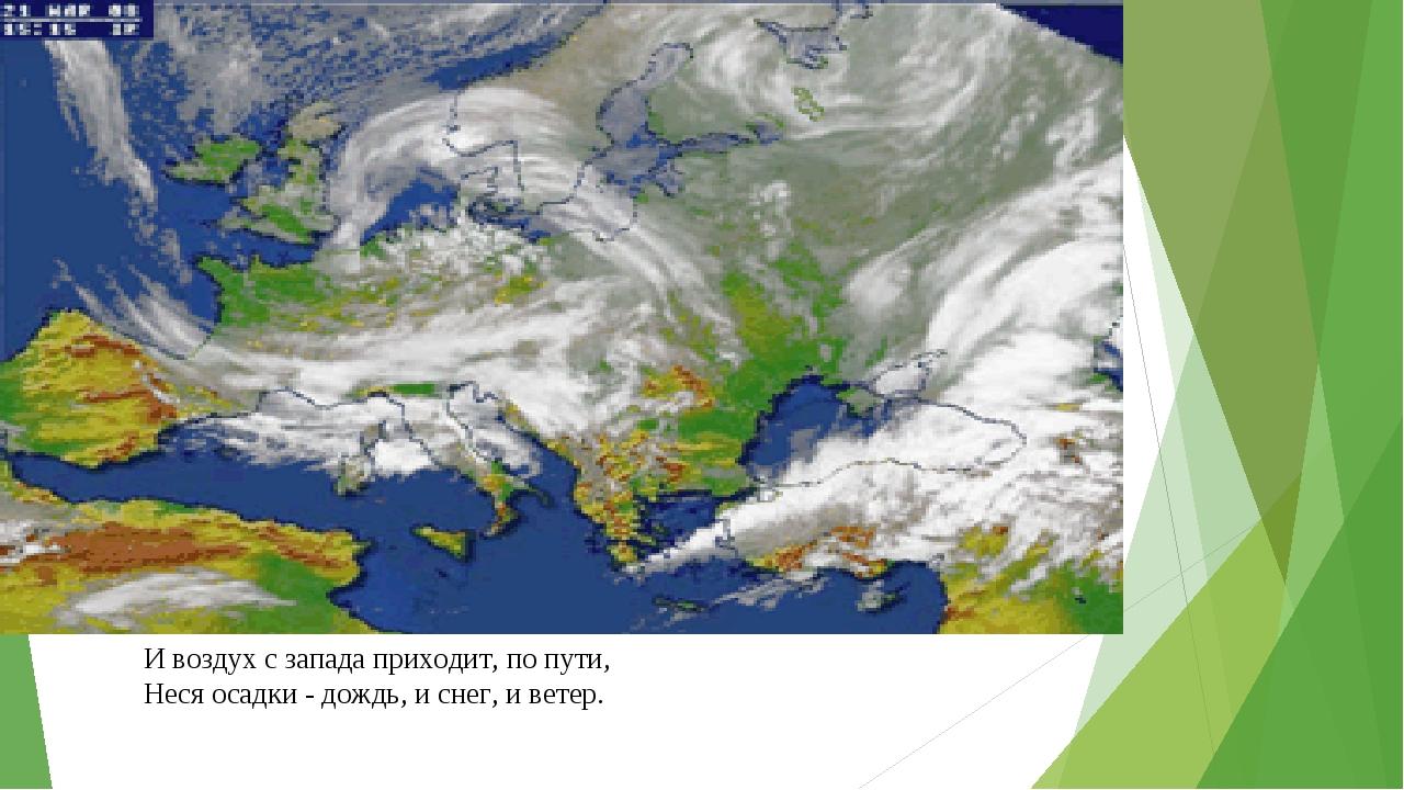И воздух с запада приходит, по пути, Неся осадки - дождь, и снег, и ветер.