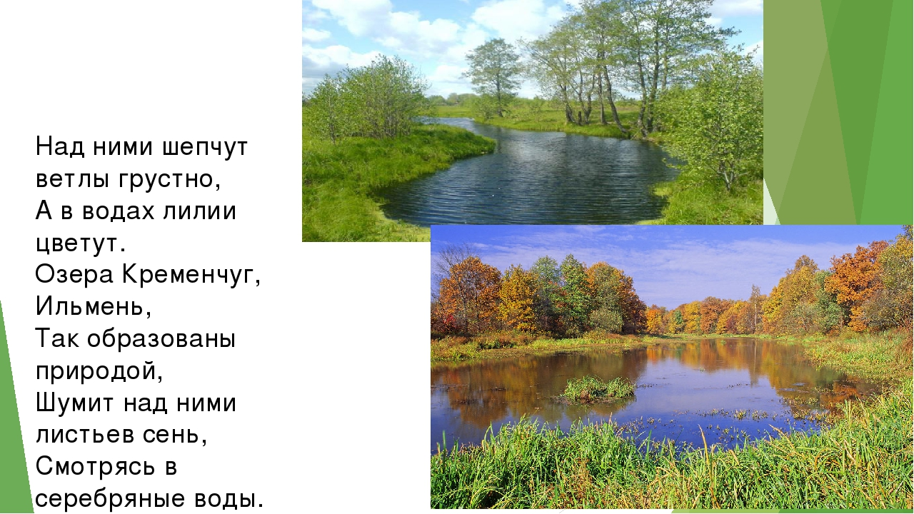 Над ними шепчут ветлы грустно, А в водах лилии цветут. Озера Кременчуг, Ильме...