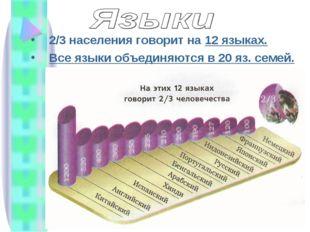 2/3 населения говорит на 12 языках. Все языки объединяются в 20 яз. семей.