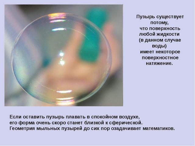 Пузырь существует потому, что поверхность любой жидкости (в данном случае вод...