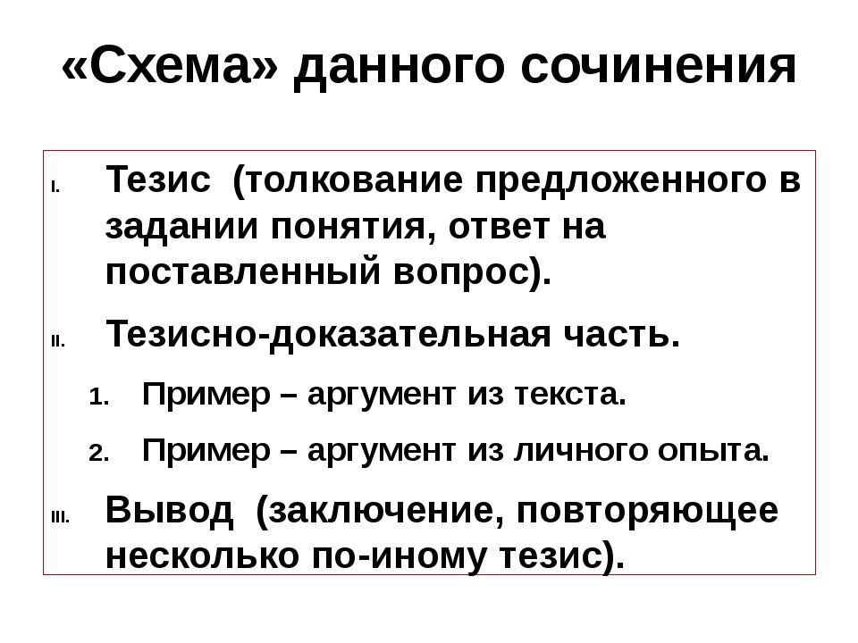 «Схема» данного сочинения Тезис (толкование предложенного в задании понятия,...