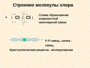 Строение молекулы хлора : Cl : Cl : : : : : Схема образования ковалентной неп