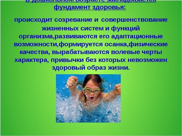 В дошкольном возрасте закладывается фундамент здоровья: происходит созревани...