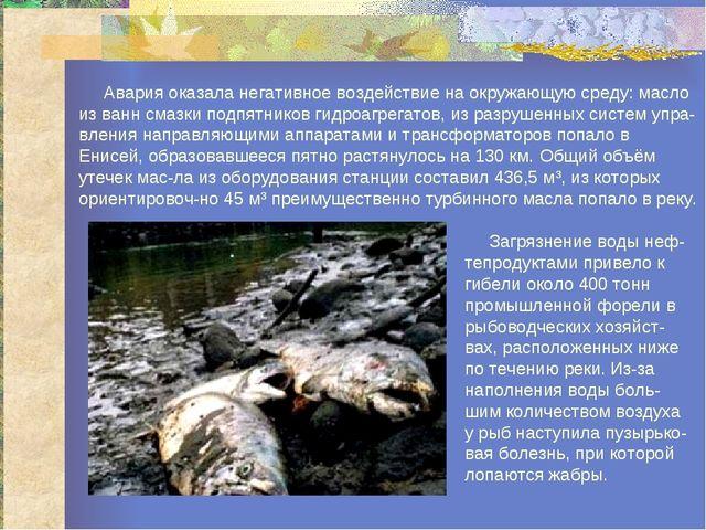 Авария оказала негативное воздействие на окружающую среду: масло из ванн сма...