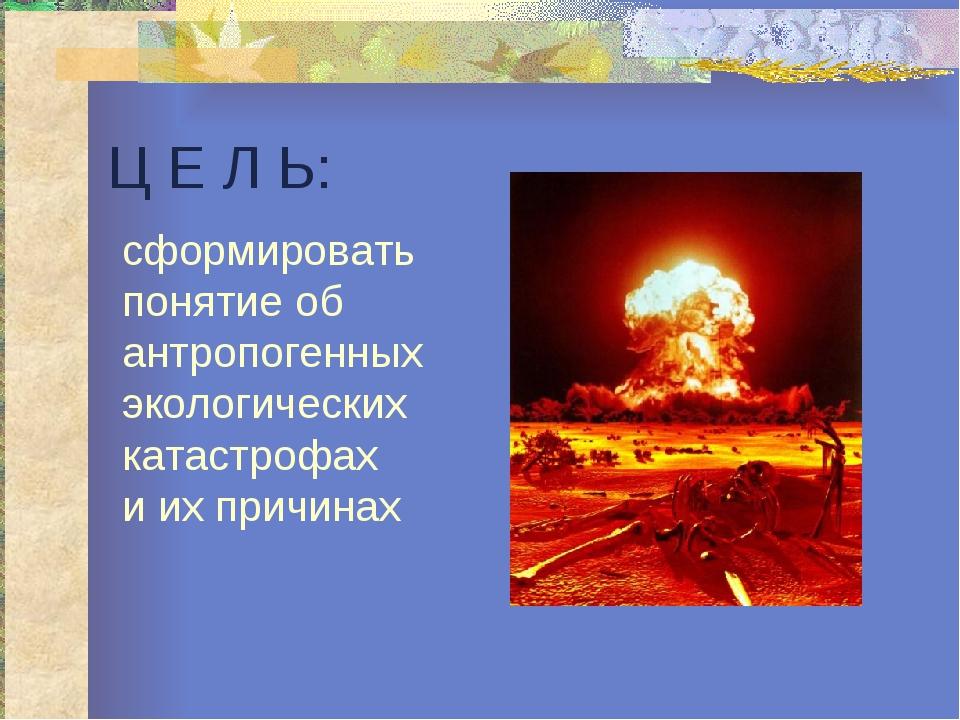 Ц Е Л Ь: сформировать понятие об антропогенных экологических катастрофах и их...