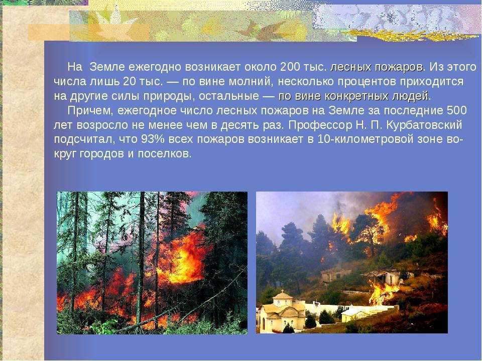 На Земле ежегодно возникает около 200 тыс. лесных пожаров. Из этого числа ли...