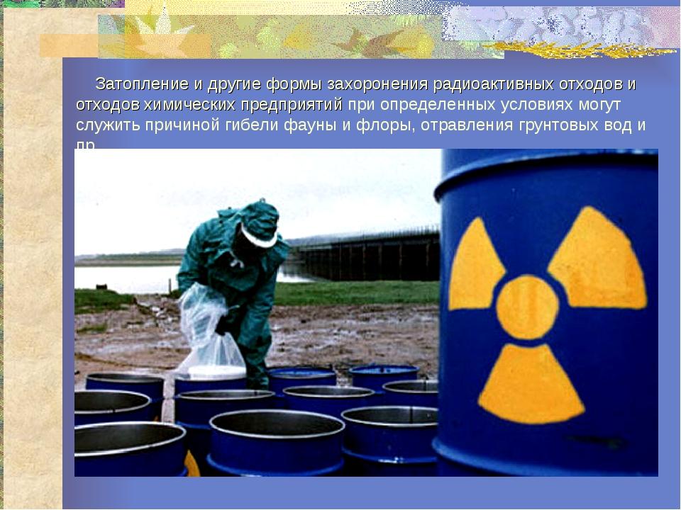 Затопление и другие формы захоронения радиоактивных отходов и отходов химиче...