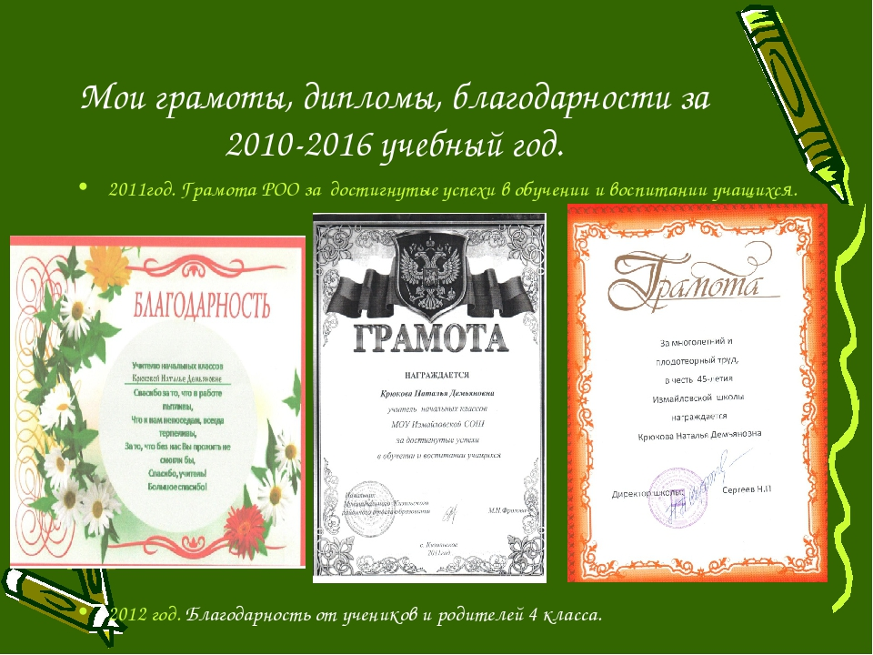 Мои грамоты, дипломы, благодарности за 2010-2016 учебный год. 2011год.Грамот...