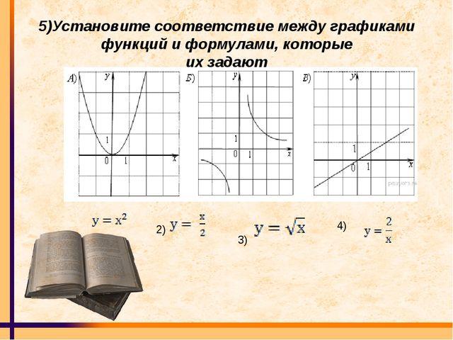 5)Установите соответствие между графиками функций и формулами, которые их зад...