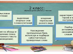 2 класс: обучение детей работать с текстом смысловое чтение владение пересказ