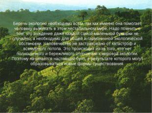 Беречь экологию необходимо всем, так как именно она помогает человеку выживат