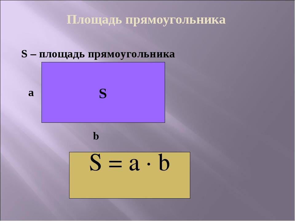 Площадь прямоугольника S – площадь прямоугольника S а b S = a · b