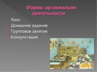 Формы организации деятельности Урок Домашнее задание Групповое занятие Консул