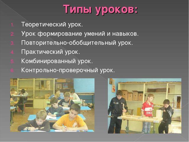 Типы уроков: Теоретический урок. Урок формирование умений и навыков. Повторит...
