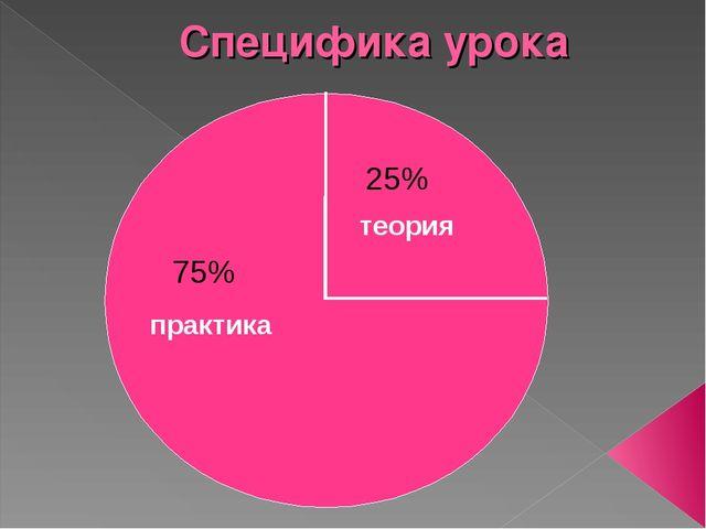 Специфика урока практика 75% 25% теория