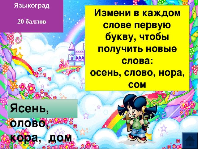 Языкоград 50 баллов Саша, Настя, Женя, Рита (Александра, Анастасия, Евгения,...