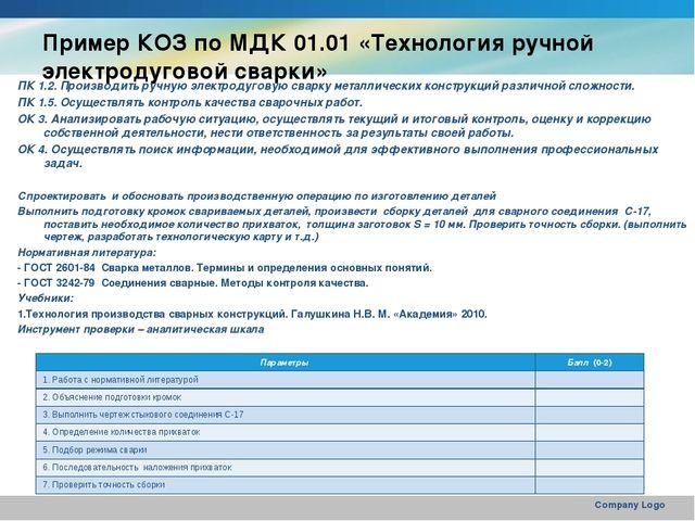 Пример КОЗ по МДК 01.01 «Технология ручной электродуговой сварки» ПК 1.2. Про...