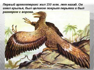 Первый археоптерикс жил 150 млн. лет назад.Он имел крылья, был целиком покры