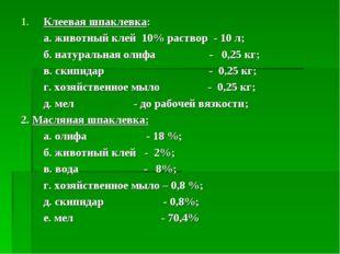 Клеевая шпаклевка: а. животный клей 10% раствор - 10 л; б. натуральная олифа
