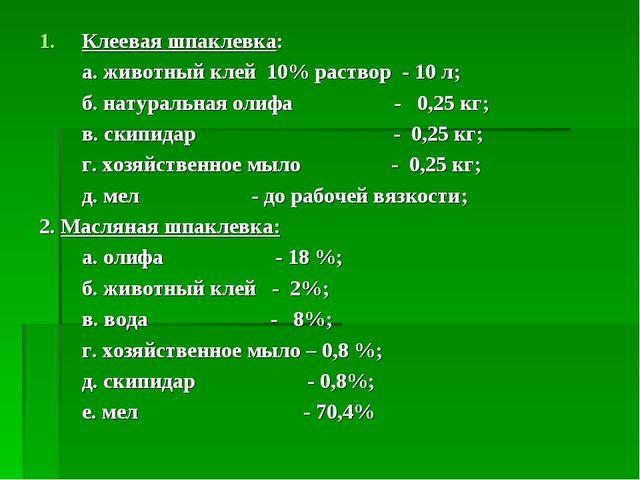 Клеевая шпаклевка: а. животный клей 10% раствор - 10 л; б. натуральная олифа...