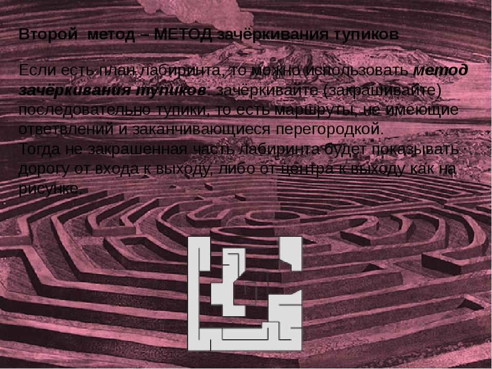 Если есть план лабиринта, то можно использовать метод зачёркивания тупиков: з...