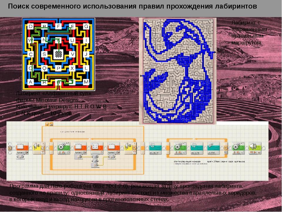 Лабиринт «Алфавитный суп» фирмы Minotaur Designs. Кратчайший маршрут: H T R...