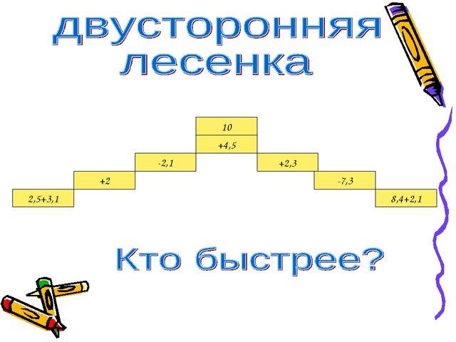 2,5+3,1 +2 -2,1 +4,5 +2,3 -7,3 8,4+2,1 10