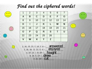 Find out the ciphered words!   1, 14, 19, 23, 5, 18, 5, 4—_______________ 5,