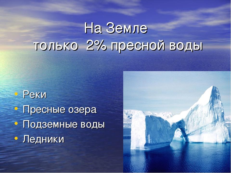 На Земле только 2% пресной воды Реки Пресные озера Подземные воды Ледники