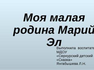 Выполнила воспитатель МДОУ «Сернурский детский сад «Сказка» Янгабышева Л.Н. М