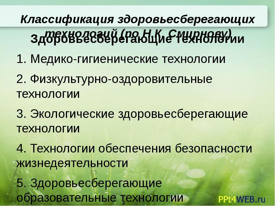 Классификация здоровьесберегающих технологий (по Н.К. Смирнову) Здоровьесбере...