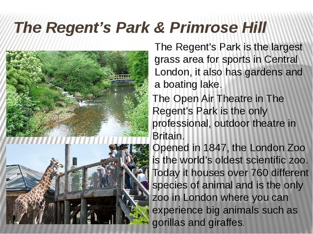 The Regent's Park & Primrose Hill . The Open Air Theatre in The Regent's Park...