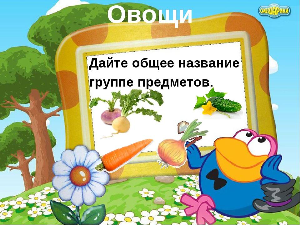Овощи Дайте общее название группе предметов.