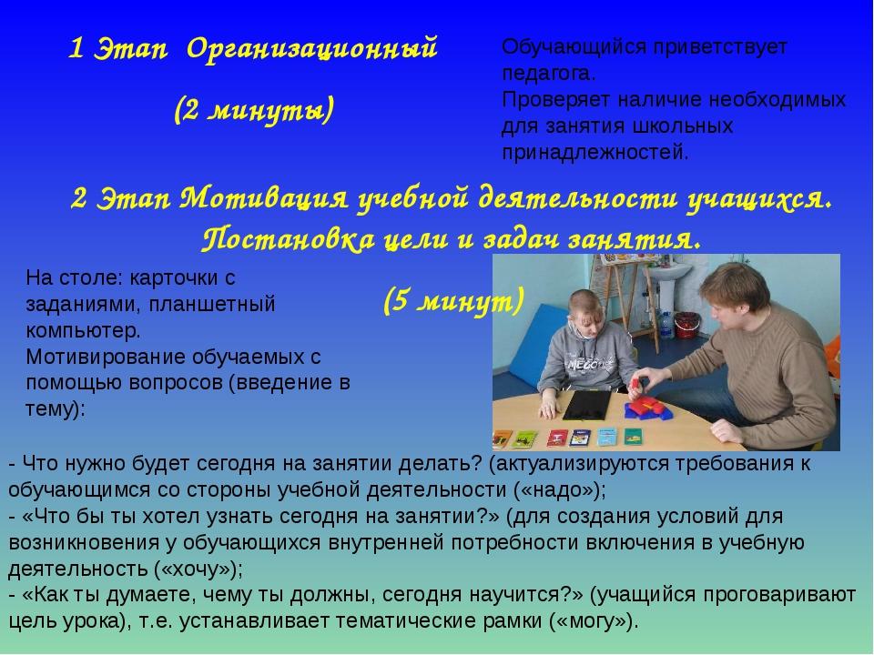 1 Этап Организационный (2 минуты) Обучающийся приветствует педагога. Проверяе...